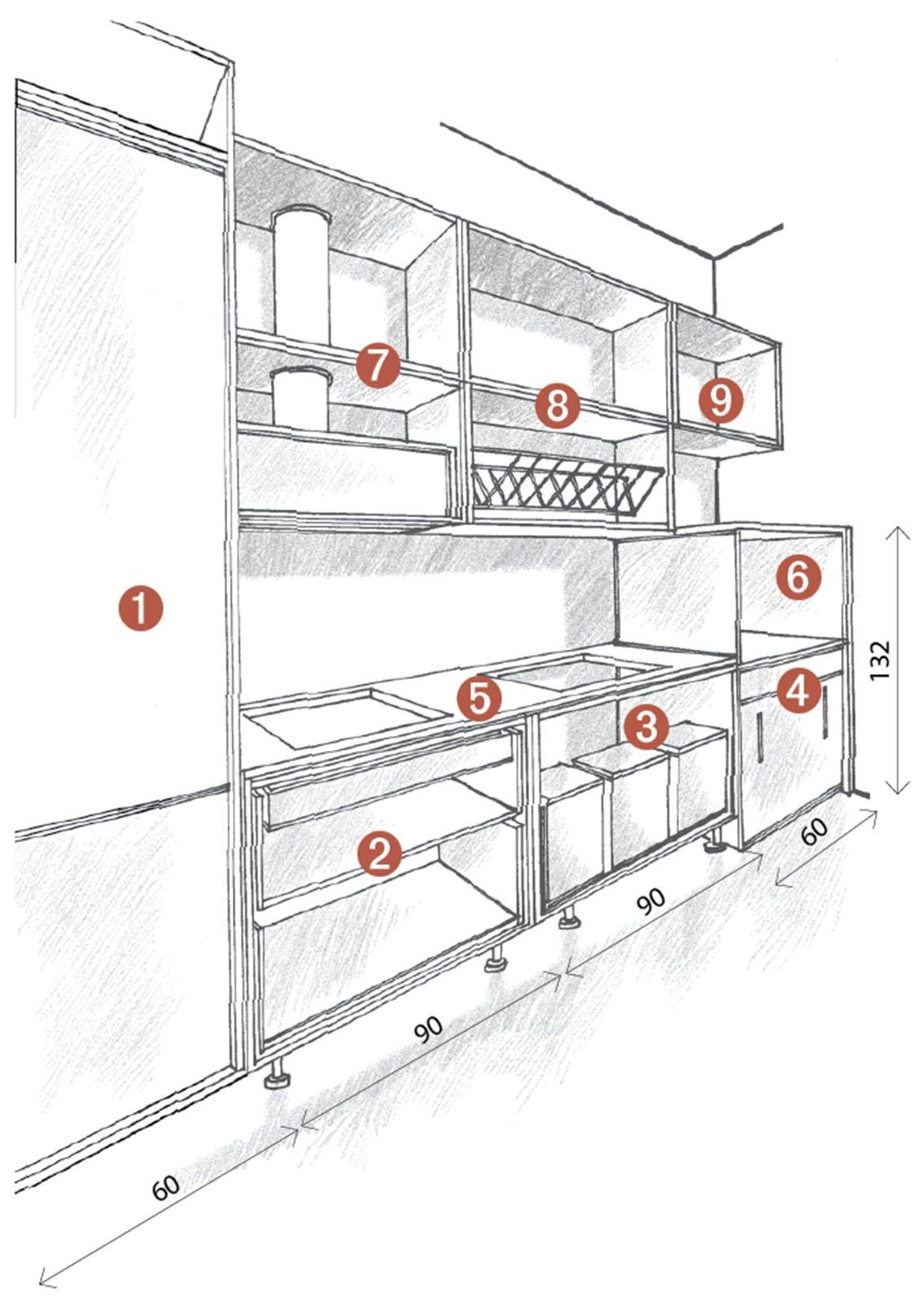 Misure Standard Top Cucina cucina concentrata in 3 metri. 2 progetti con render - cose
