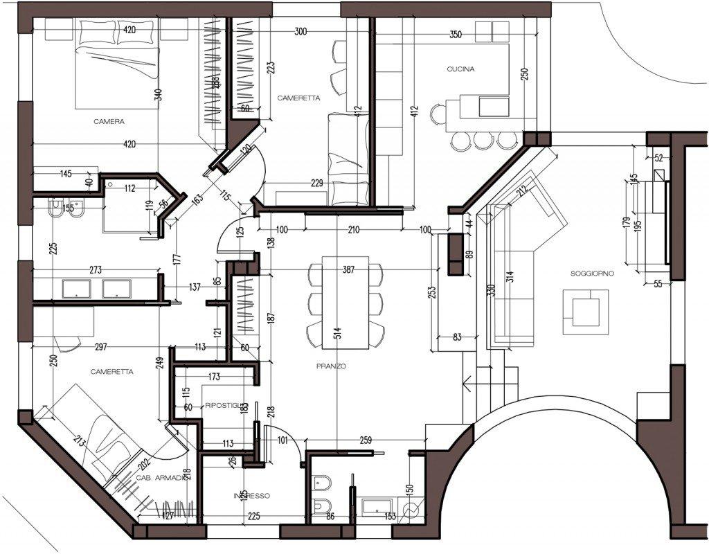 Una mansarda con dislivello progetto in 3d e foto della for Foto di cucina e soggiorno a pianta aperta