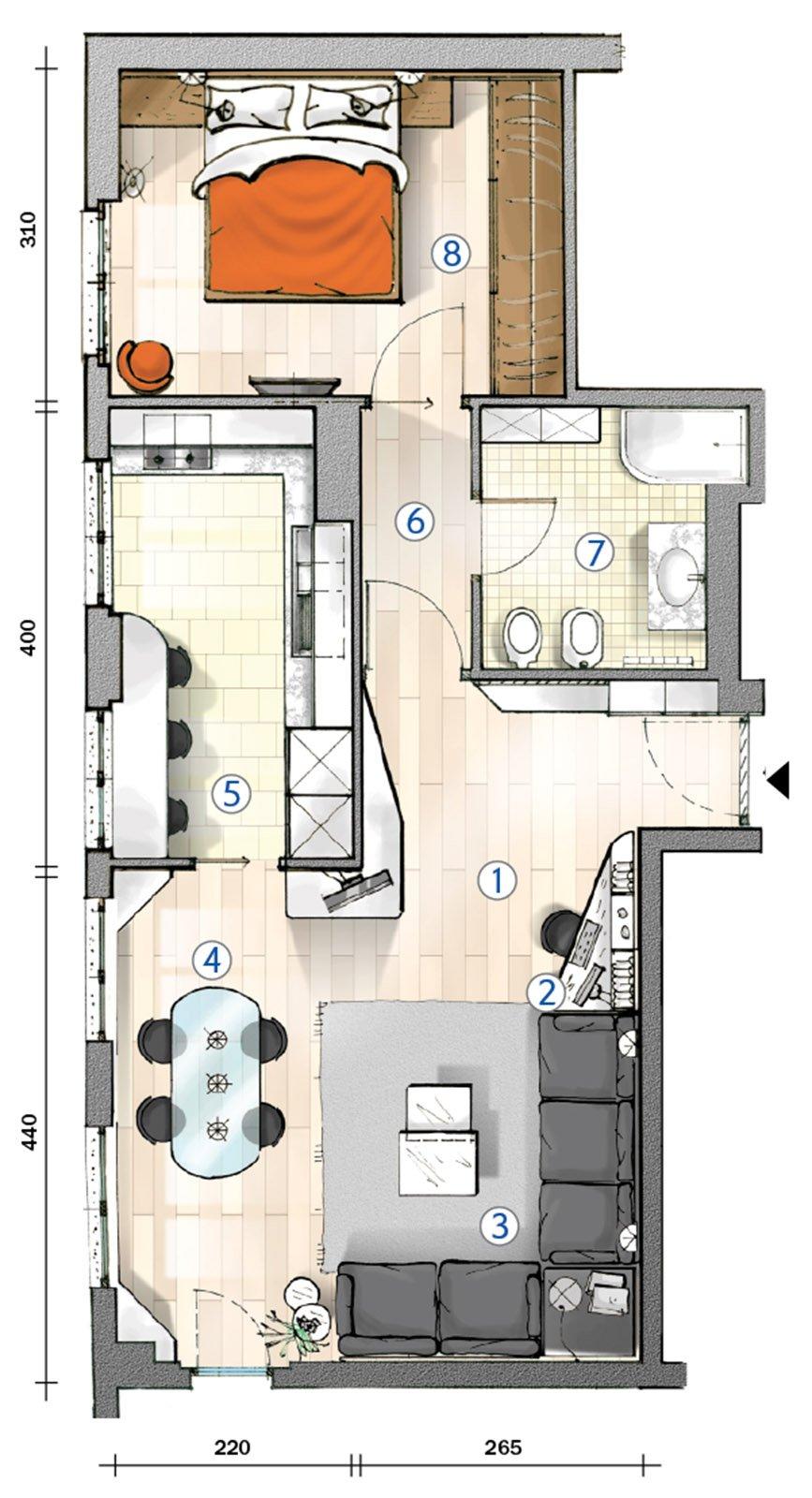 Cucina separata nel bilocale perfetto per due la pianta - Progetto casa 80 mq ...