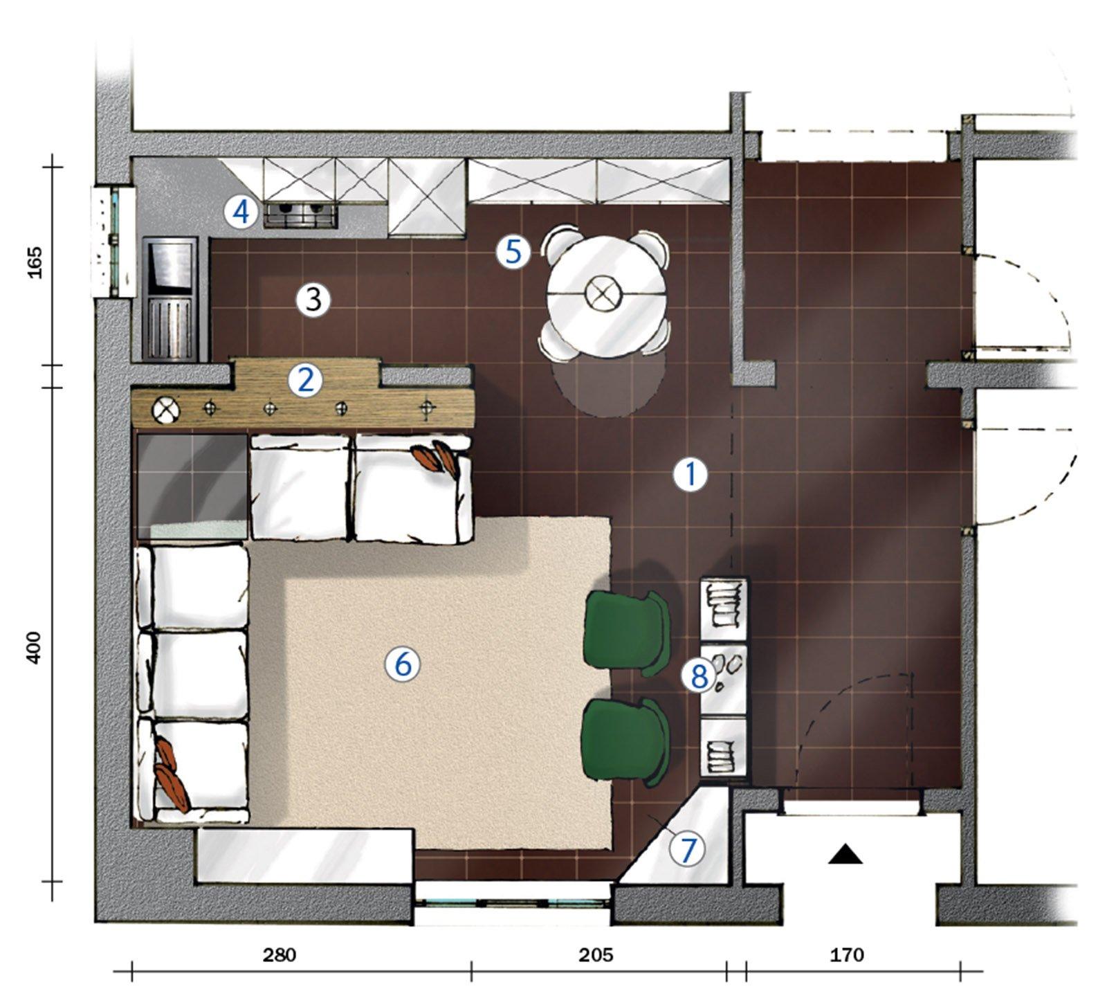 La cucina separata dal soggiorno da muretto basso con for Piani casa a basso reddito
