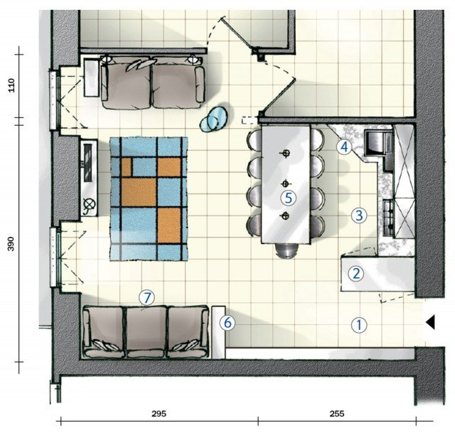 In cucina definire le funzioni con le penisole progetto for Pianta dell appartamento da 300 piedi quadrati