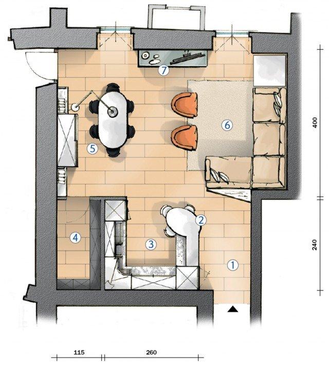 Cucina a vista e soggiorno insieme progetto in pianta for Progettare un salone