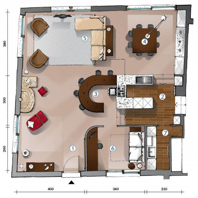 Progetti: la cucina domina il soggiorno da una pedana - Cose di Casa
