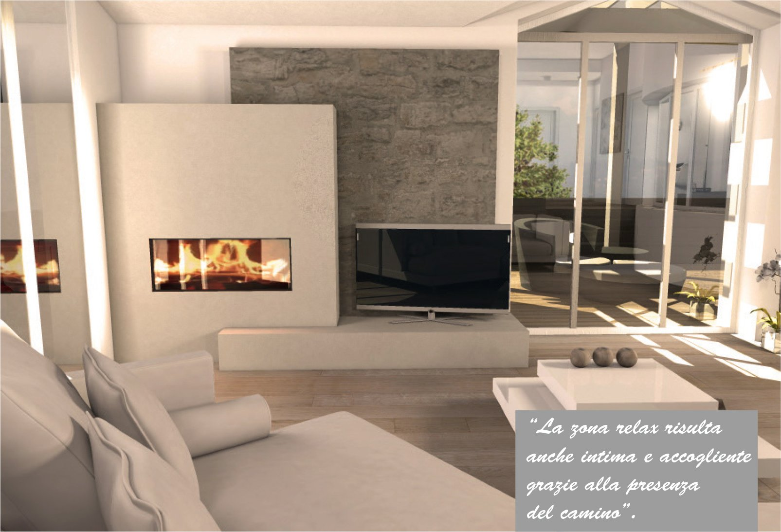 Una mansarda con dislivello progetto in 3d e foto della for Salotto con tv