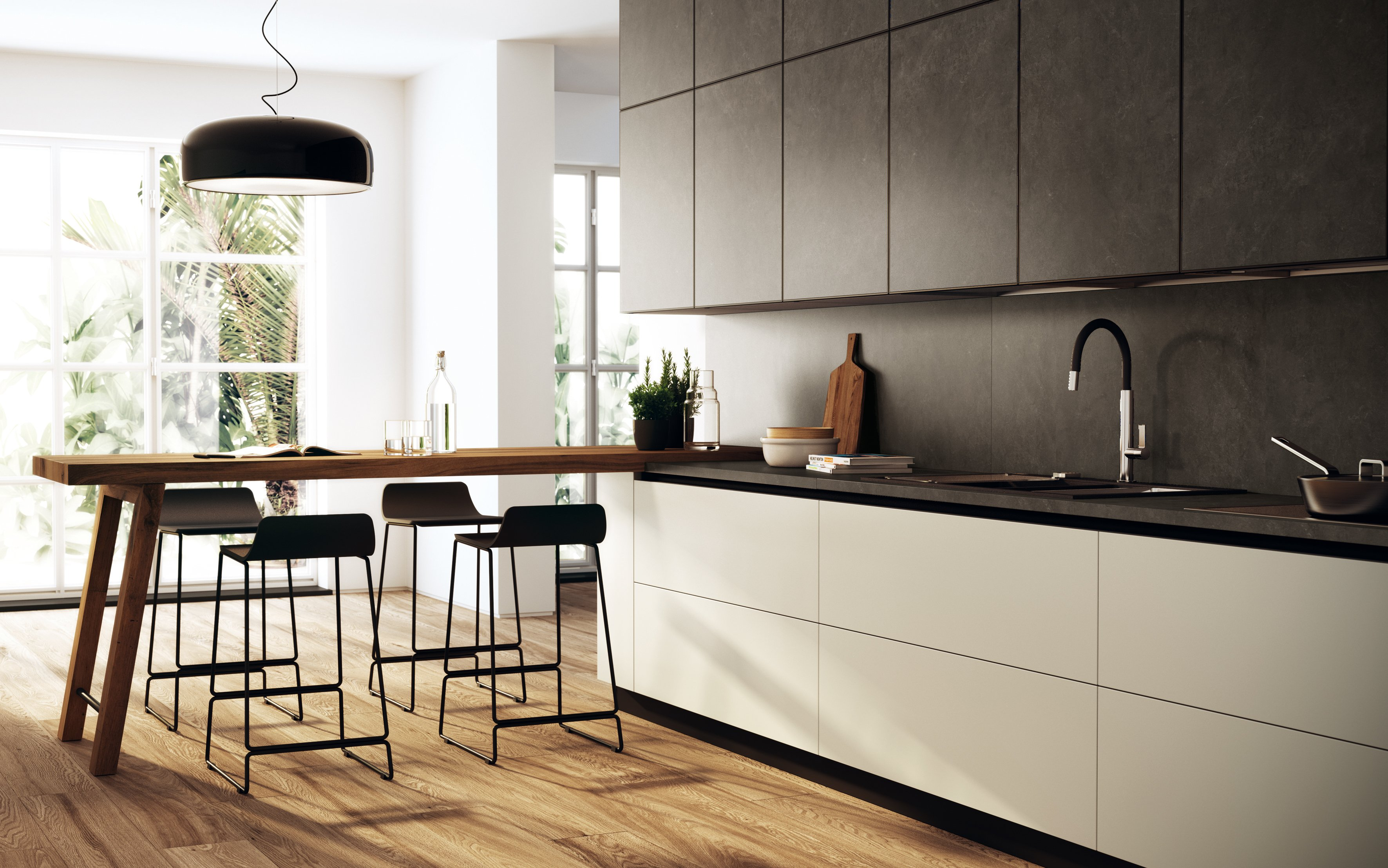 In cucina materiali protagonisti cose di casa - Cucina senza piastrelle ...