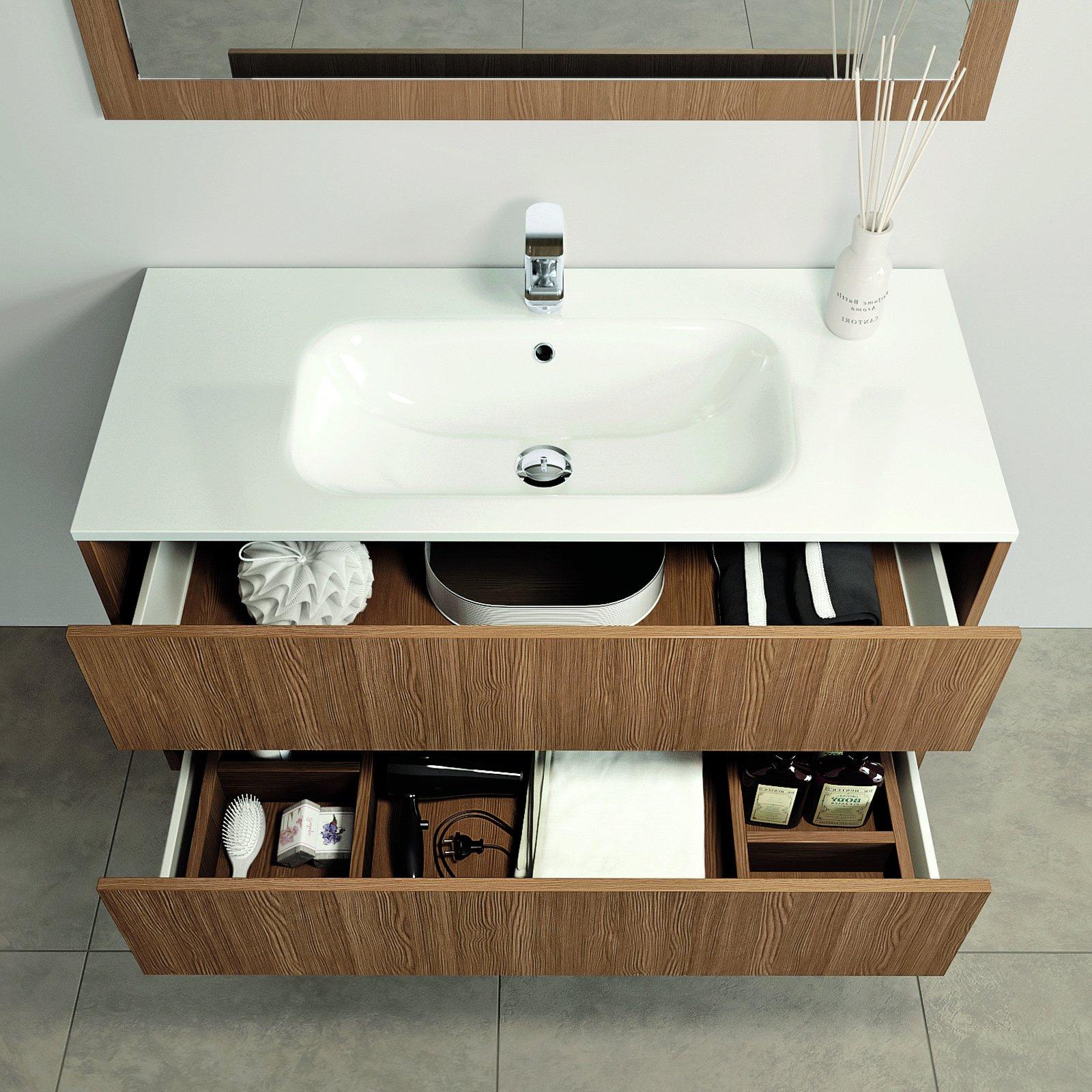 Mobili bagno con cassetti tutto in ordine sotto il lavabo - Lavandino con mobile bagno ...
