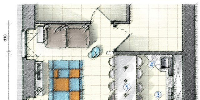In cucina definire le funzioni con le penisole. Progetto in pianta per 25 mq