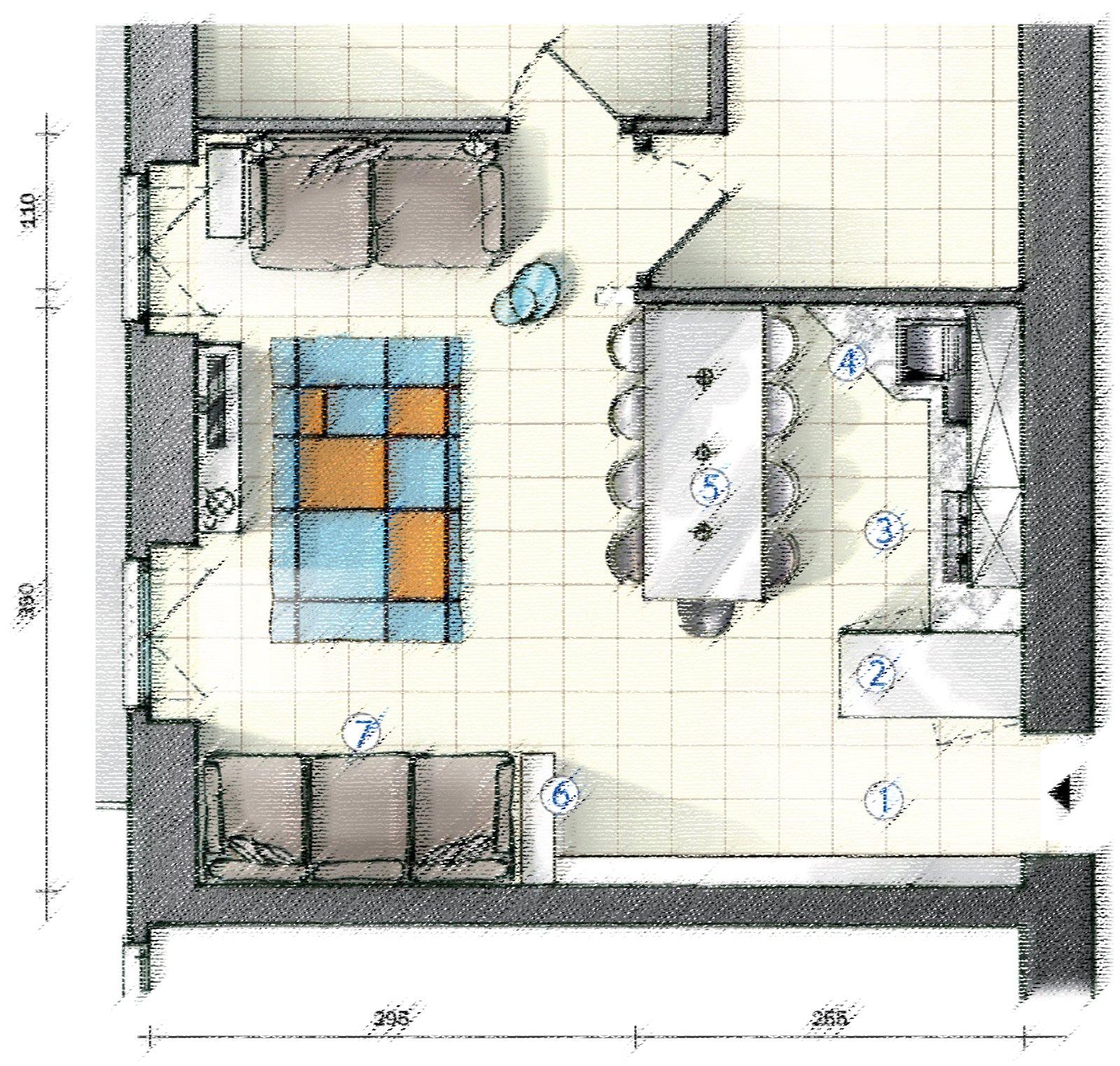 In cucina definire le funzioni con le penisole progetto for Cucina soggiorno 15 mq