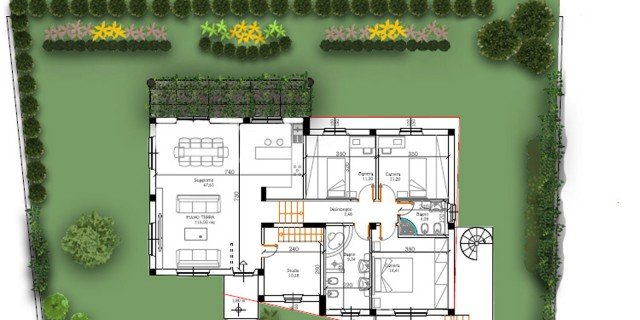 Un progetto per il giardino della villetta cose di casa - Progetti giardino per villette ...