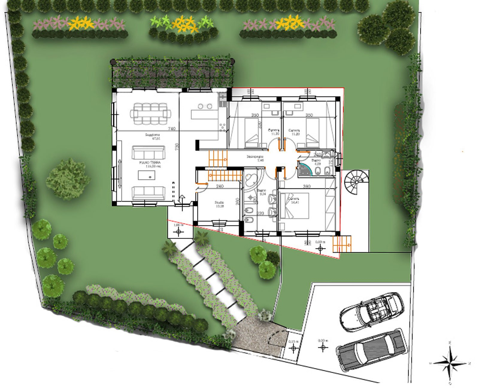 Un progetto per il giardino della villetta cose di casa for Arredi esterni dwg