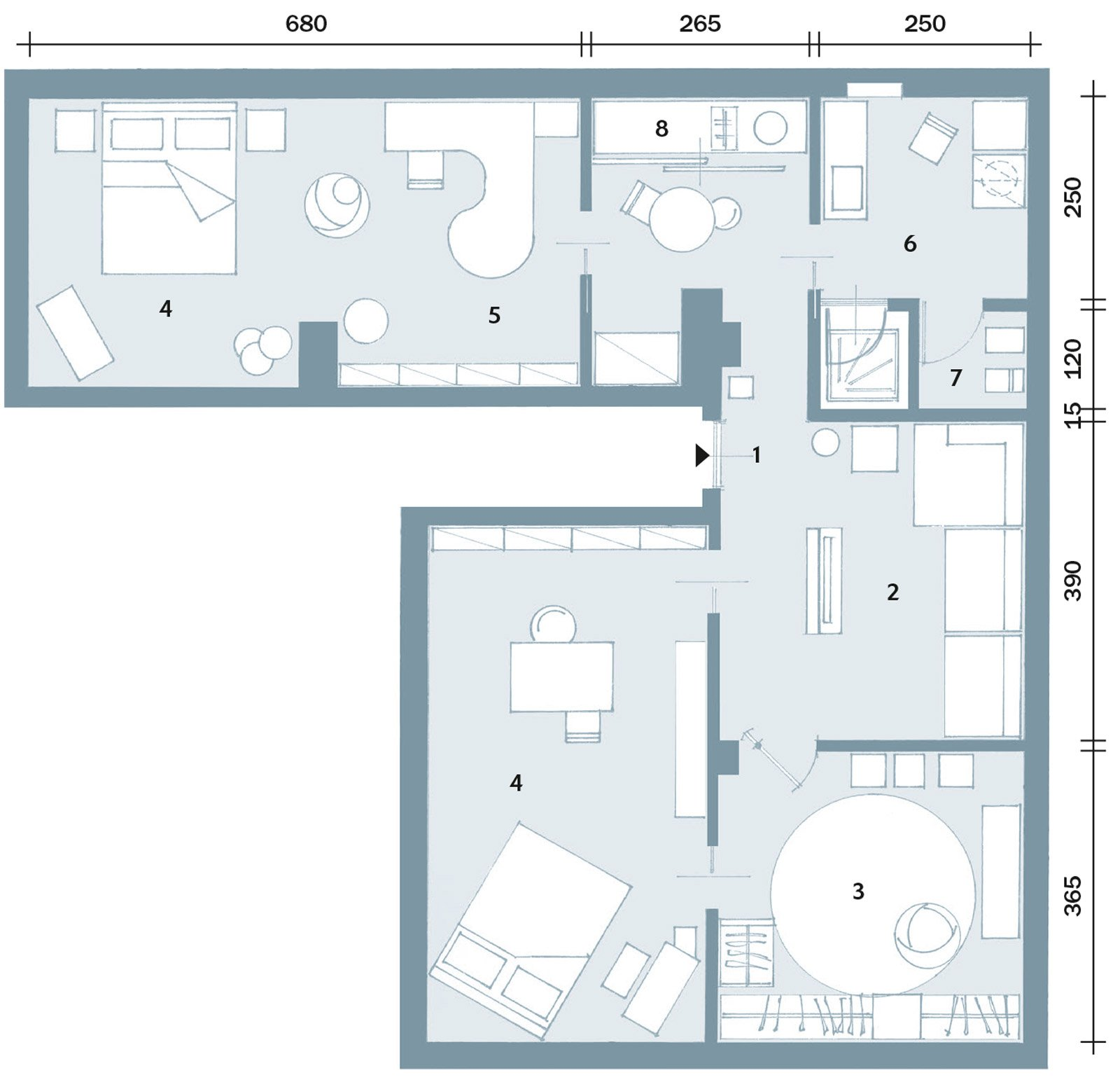 Trilocale di 96 mq recupero creativo per la mansarda for Casa moderna pianta