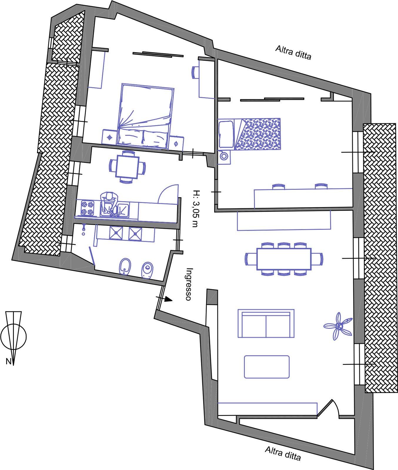 Great le pareti a squadra dellarea con mensole di grande for Planimetrie case moderne