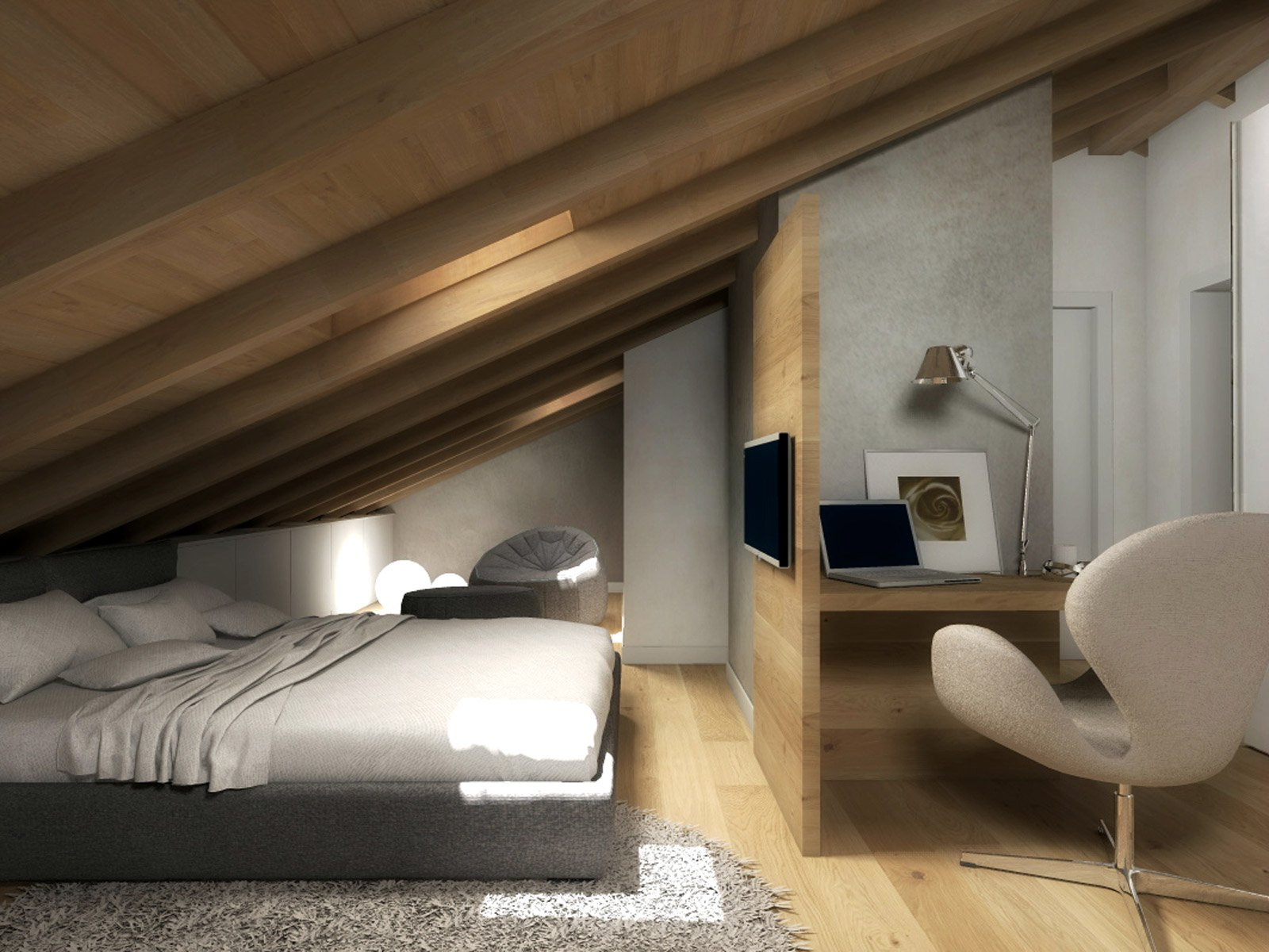 Colonna o pilastro in mezzo alla stanza come risolvere il problema cose di casa - Camera da letto sottotetto ...
