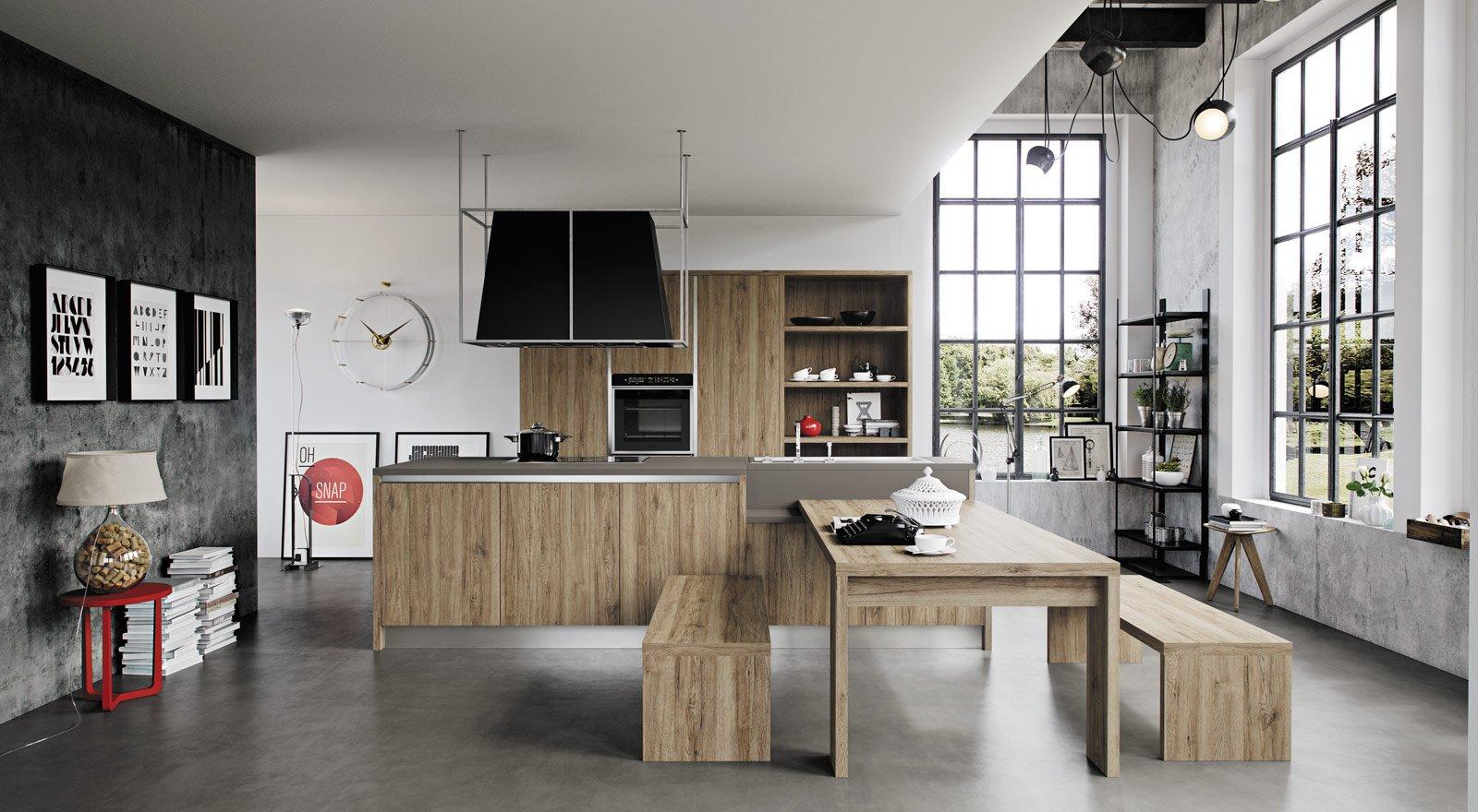 Cucine effetto legno per un ambiente caldo ed elegante cose di casa - Cucine con panca ...