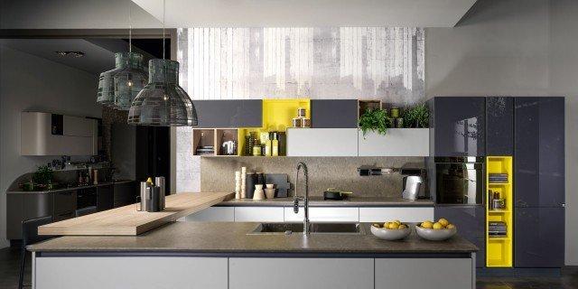 cucina a vista e soggiorno insieme progetto in pianta