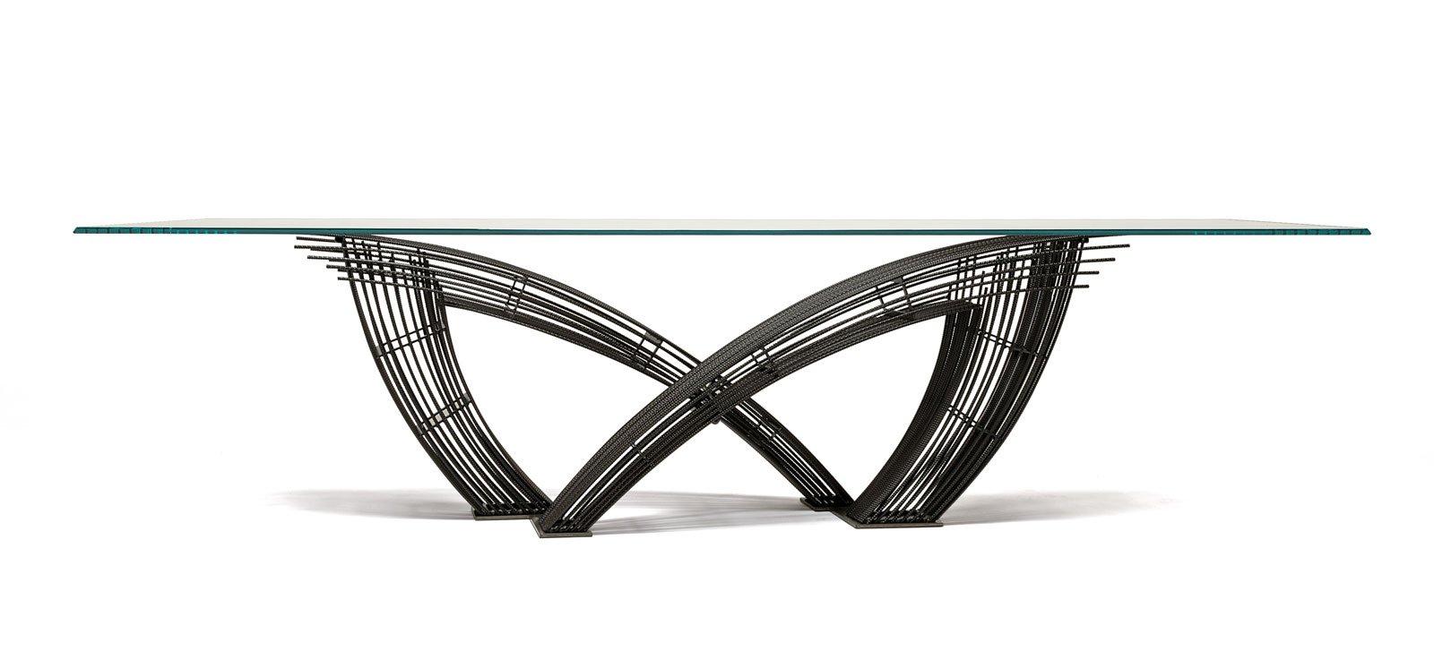 piano in vetro per tavolino: tavolino consolle da balcone ... - Tavolino Design Gambe Legno Atari Cattelan