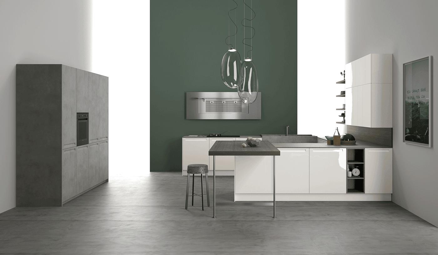 Cucina Doimo Cucine Extra Laccato Lucido Bianco E Rovere Wengè ...