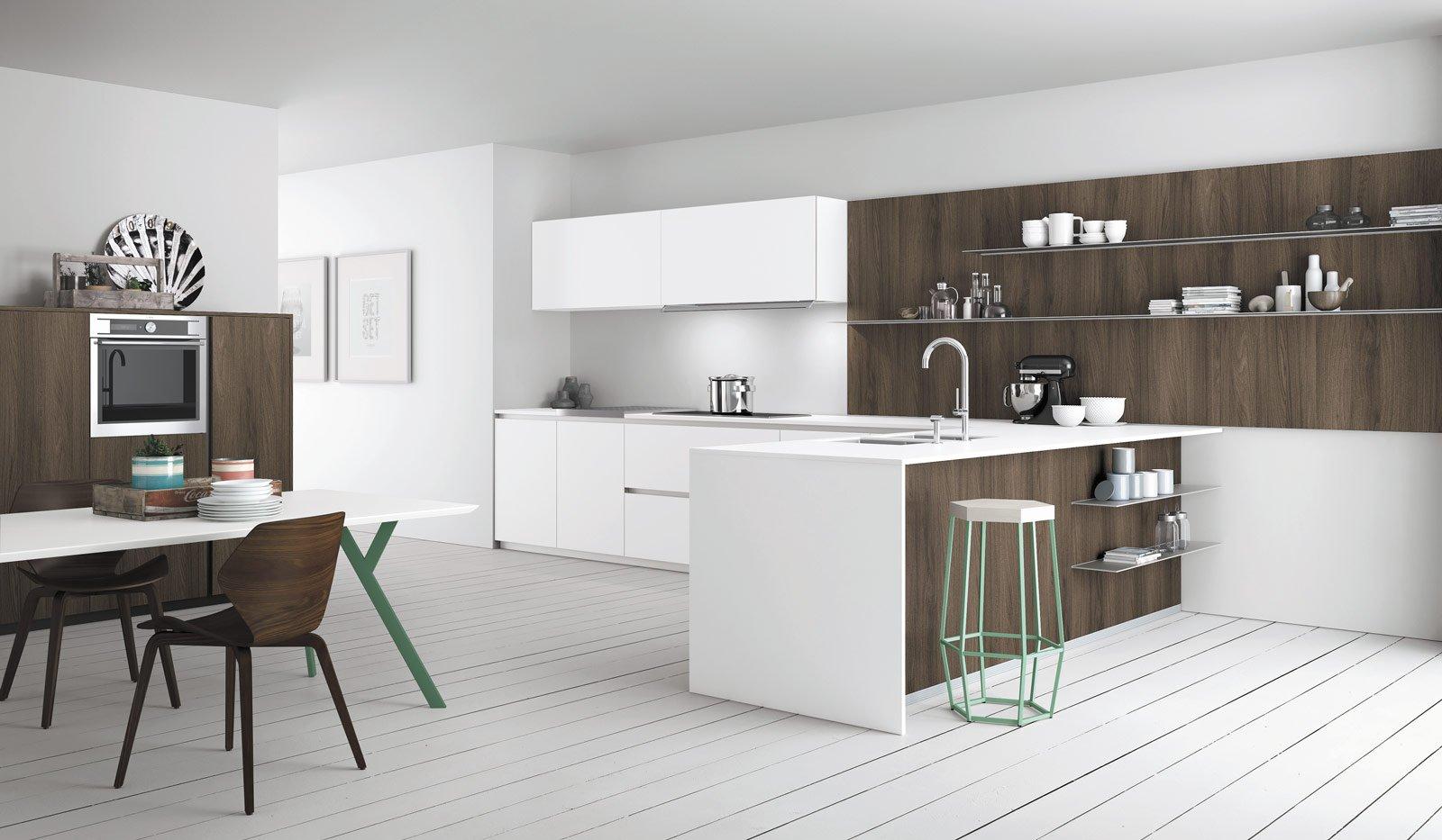 Cucine effetto legno per un ambiente caldo ed elegante - Mensole cucina moderna ...