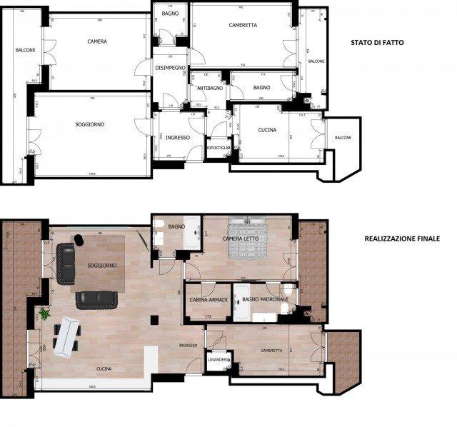 95 mq una casa con pi spazio e pi luce grazie alla for Disegnare planimetria casa