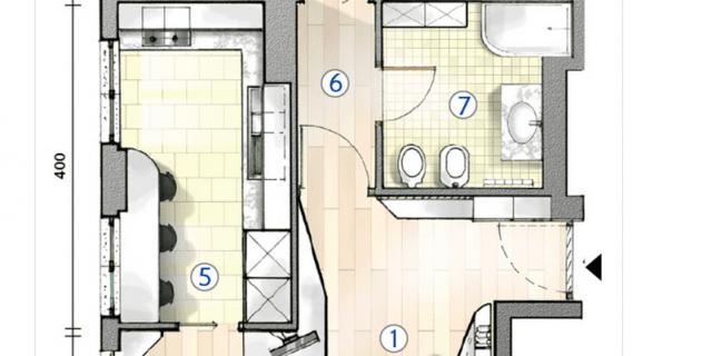 Cucina separata nel bilocale perfetto per due la pianta del progetto cose di casa - Planimetria camera da letto ...