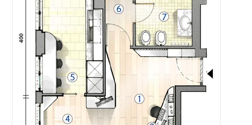 Cucina separata nel bilocale perfetto per due. La pianta del progetto
