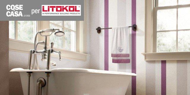 in bagno dcor a parete senza le piastrelle e contenendo i costi