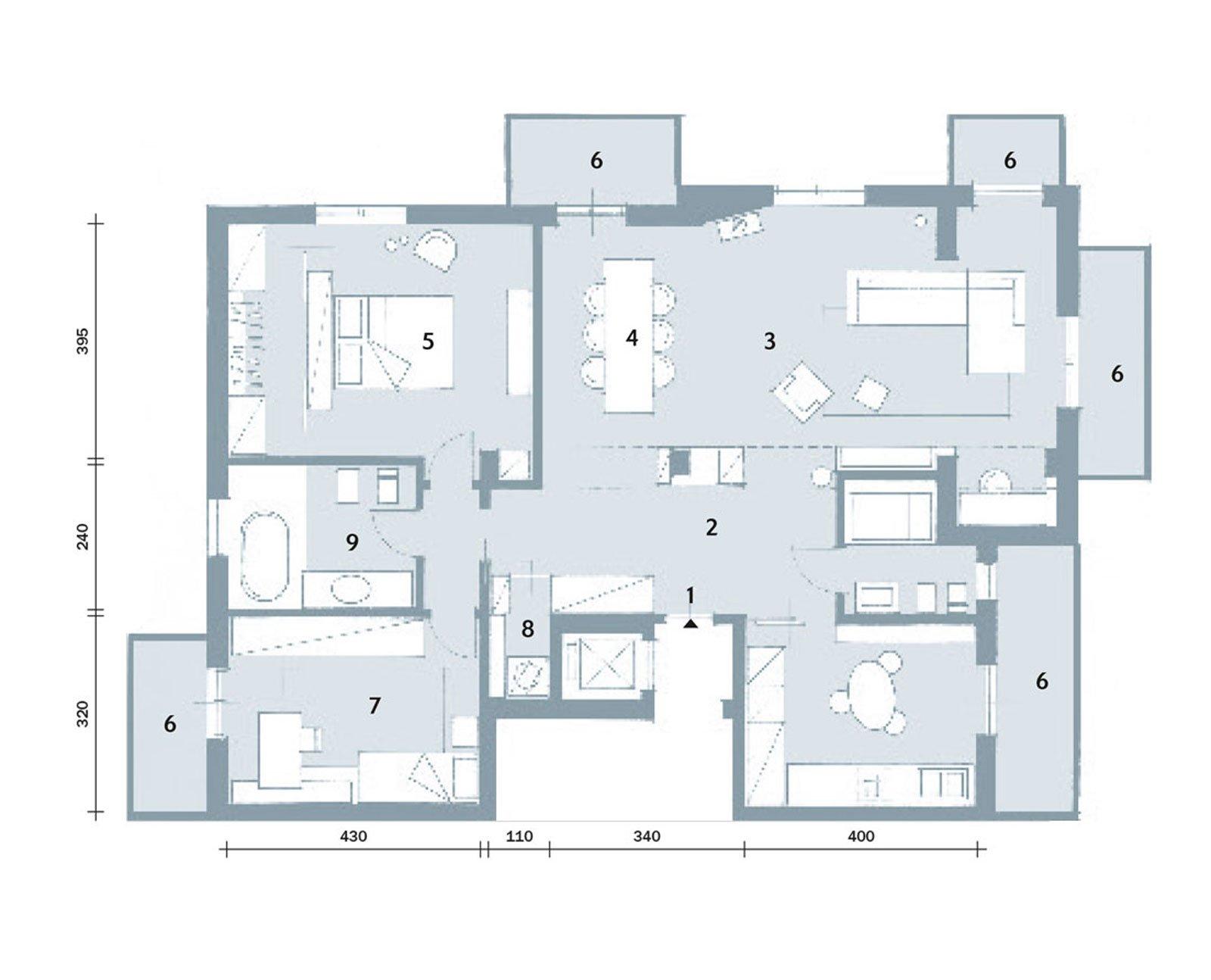Maxi trilocale design e ispirazioni scandinave per la for Piantina casa 100 mq
