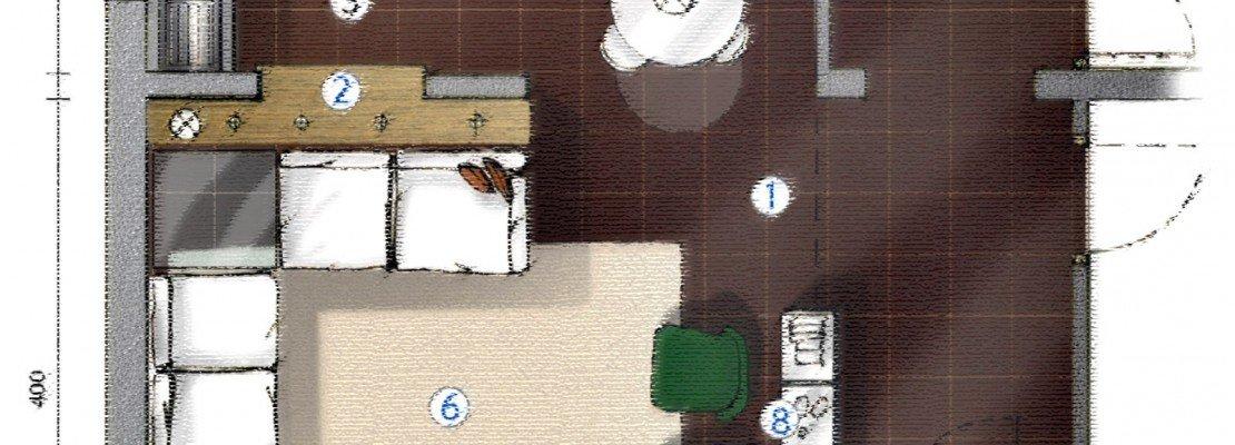 La cucina separata dal soggiorno da muretto basso con piano d ...