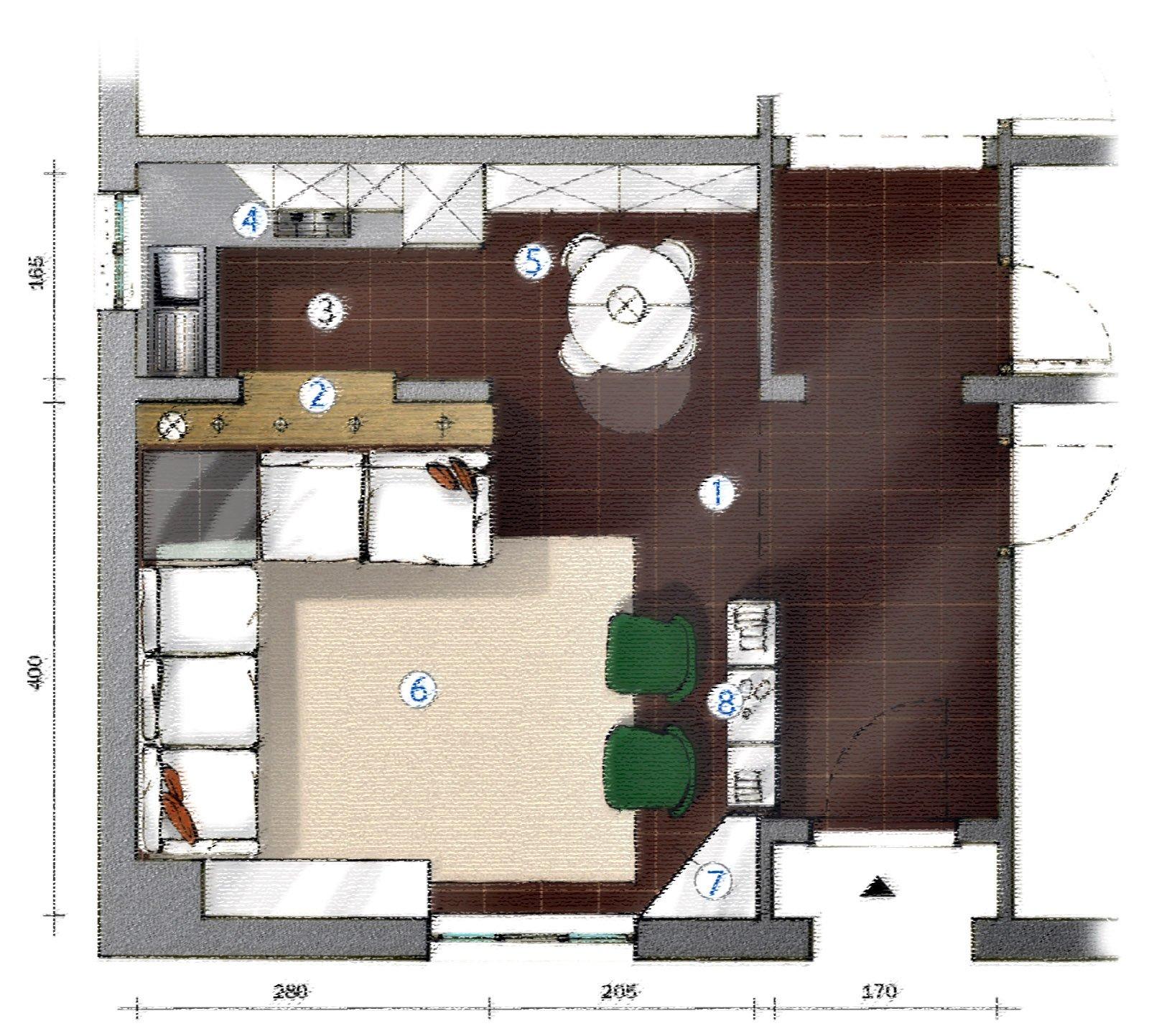 La cucina separata dal soggiorno da muretto basso con - Piano appoggio cucina ...