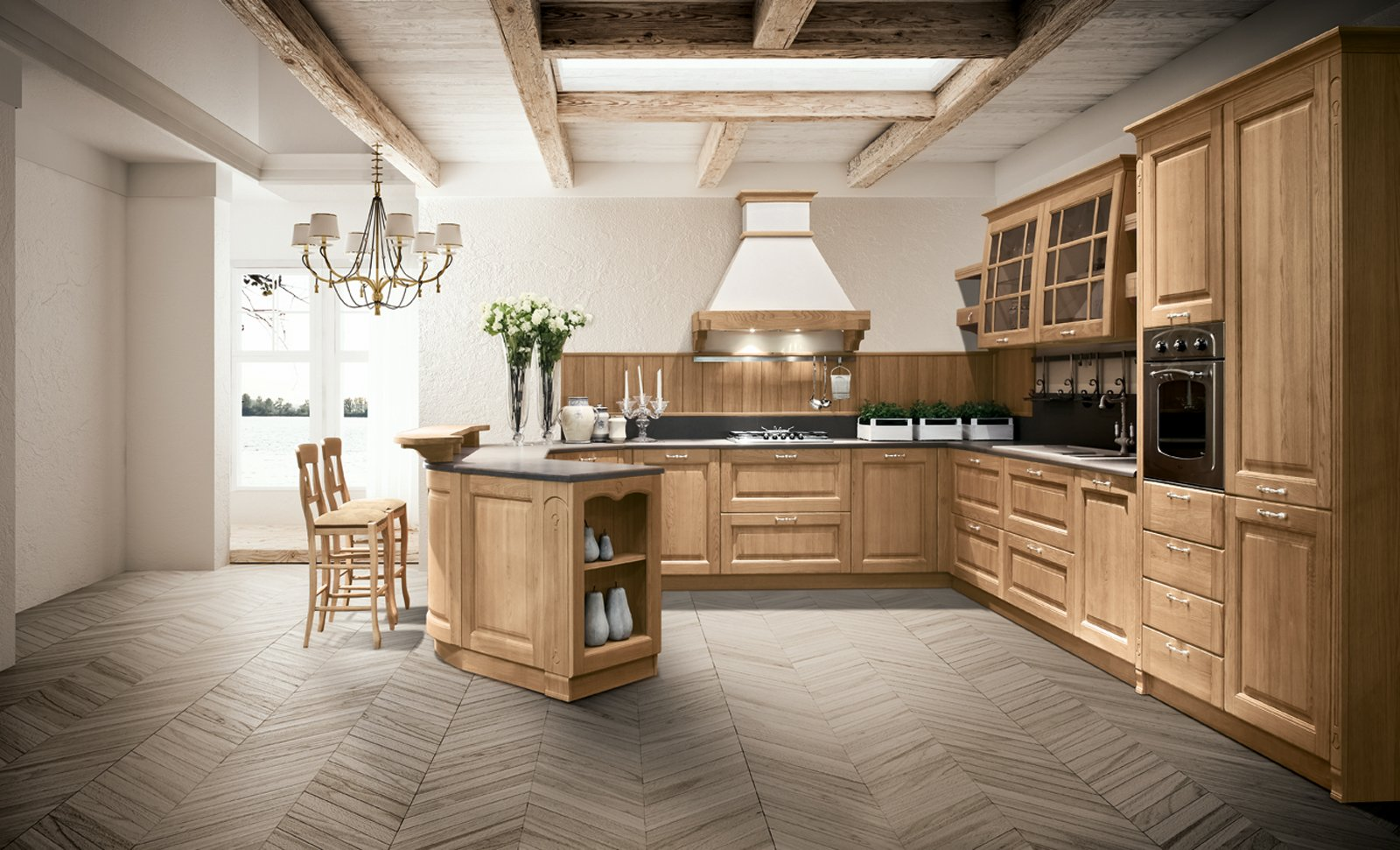 Cucine country chic soprattutto bianche o tinta legno for Arredamento di design naturale