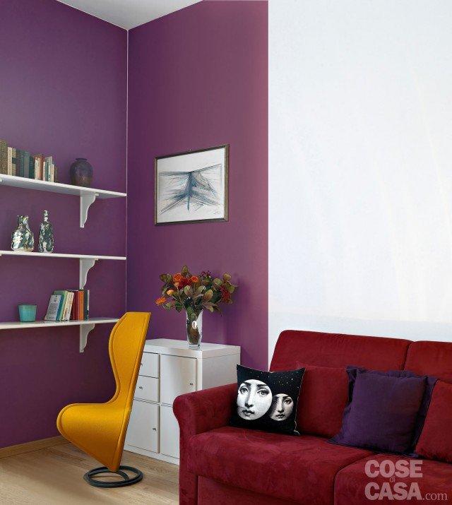 pitturare le pareti: i trucchi che ingannano l'occhio - cose di casa - Soggiorno Con Pareti Lilla 2