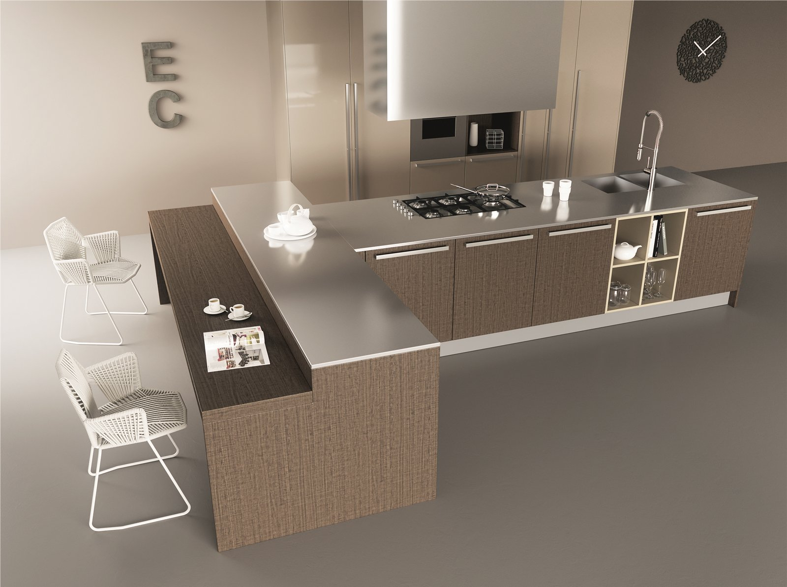 cucina bianca e legno wenge