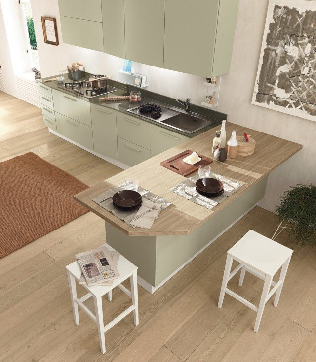 Cucine con grandi piani di lavoro cose di casa - Piani cucina cemento ...
