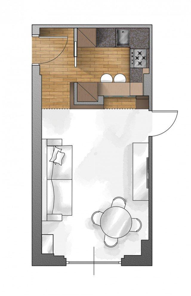 pianta cucina schermata nel soggiorno