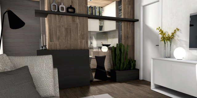 Ricavare la cucina nel soggiorno con una chiusura parziale