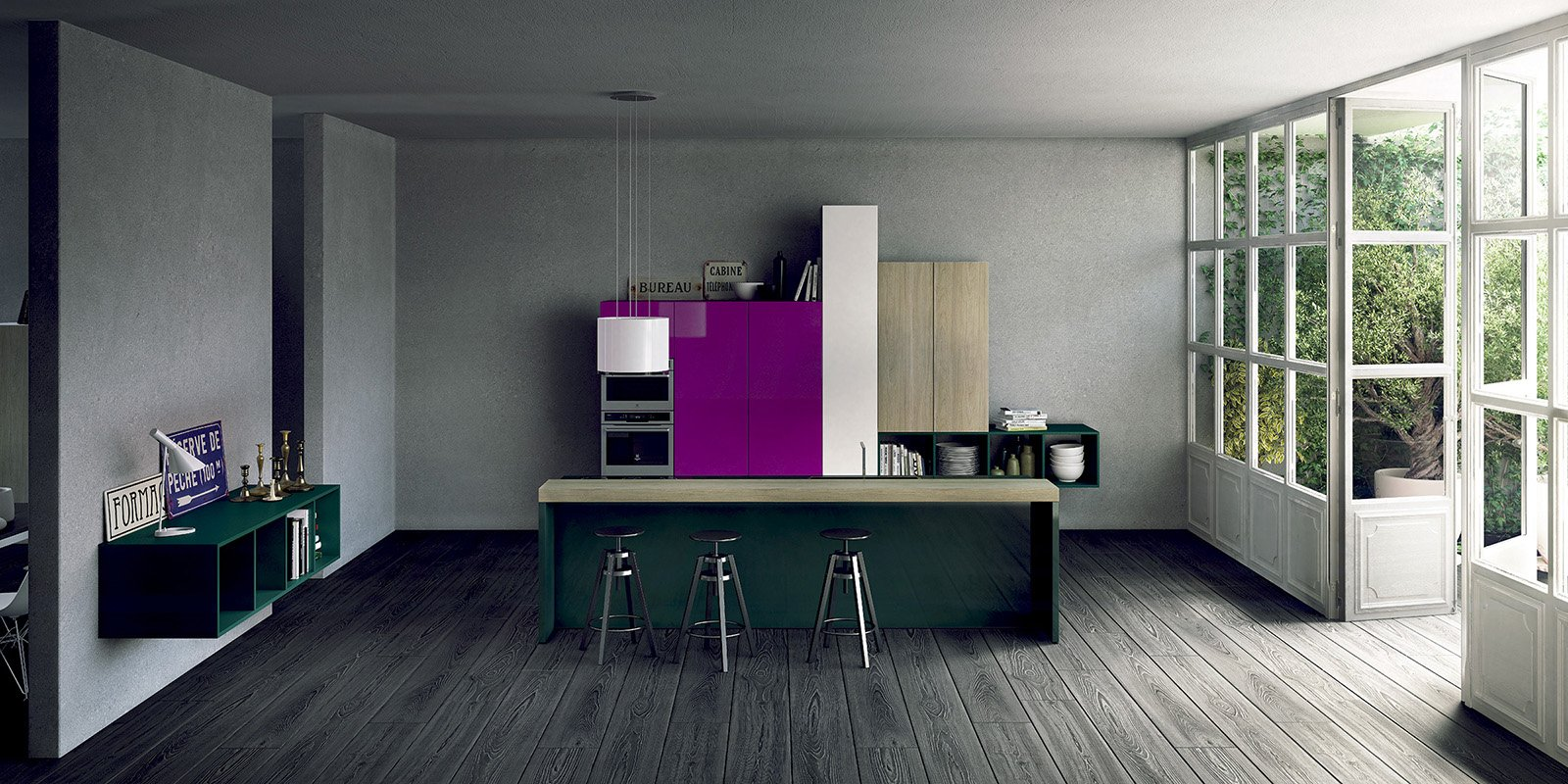 Ilano Di Del Tongo è Una Composizione Essenziale Che Alterna  #63045F 1600 800 Cucine Stile Eclettico