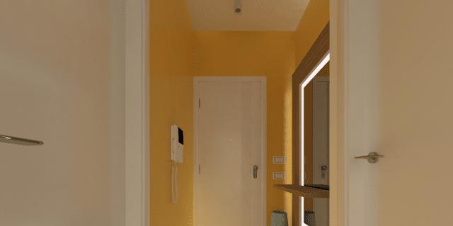 Ricavare il ripostiglio e arredare l'ingresso: un progetto in 3D