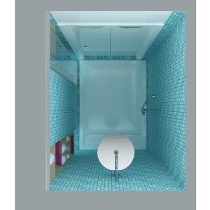 Il piatto doccia è di grande formato (120x90 cm), la conformazione di cabina e le sue dimensioni consentono di attrezzarla come spazio relax, ad esempio come piccolo hammam domestico. All'interno ci sono due rientranze schermabili con un pannello in vetro scorrevole, una è dotata di ripiani e l'altra di ganci appendiabiti. Mosaico di Mosaico+ e piatto doccia di Ideal Standard.