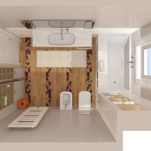 Il bagno1 ha una vasca con un fianco più largo e vani porta-oggetti al di sotto, è delimitata su un lato corto da una rientranza con ripiani ricavata accanto al pilastro. La rubinetteria può essere in alternativa posizionata sul bordo più grande. Sanitari, vasca, lavabo e complementi d'arredo di Agape, parquet di Xilo 1934, radiatore di Cordivari.