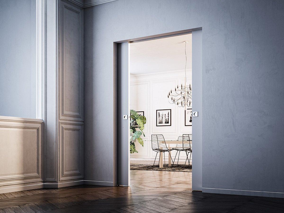 Porte a scomparsa e filo muro syntesis collection di - Porte a specchio a scomparsa ...
