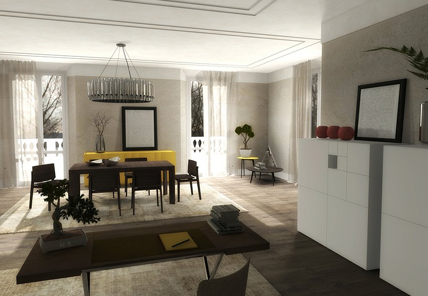 Salone Stile Moderno Con Parquet E Vetrate Internal Design : Arredare la zona pranzo un progetto di interior design