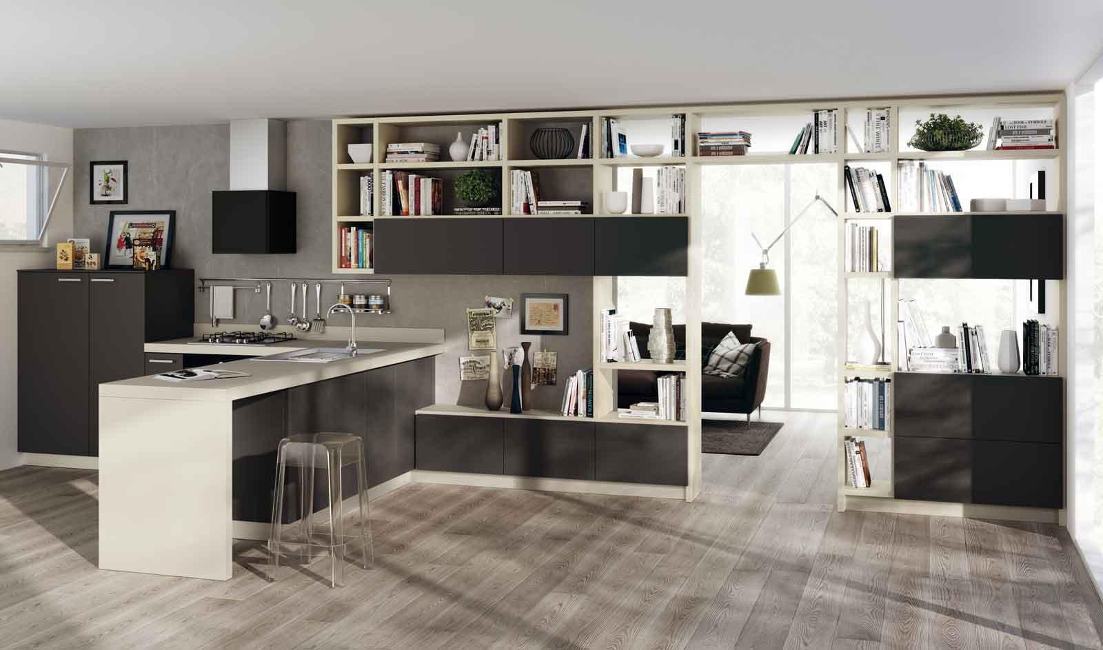 libreria Fluida che permette di integrare perfettamente il soggiorno ...