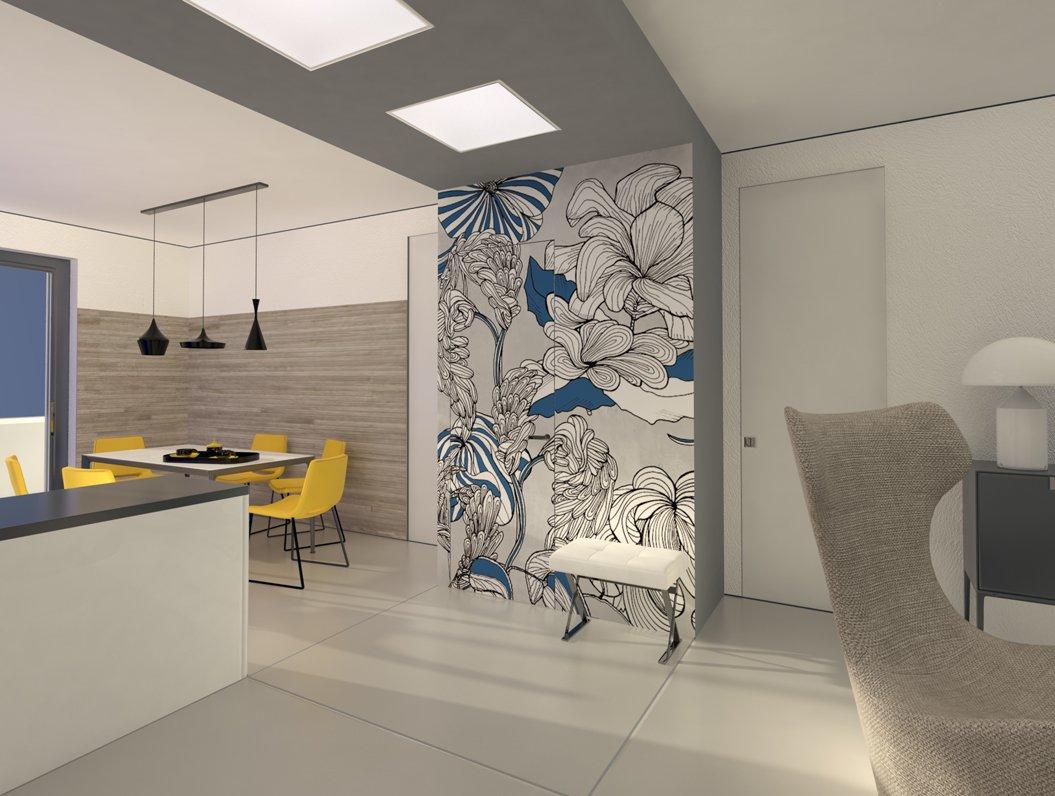 Il ripostiglio dispensa ricavato nel soggiorno cucina for Carta parati cucina moderna