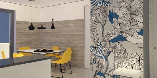 Il ripostiglio dispensa ricavato nel soggiorno cucina progetto in 3d cose di casa - Carta da parati in cucina ...