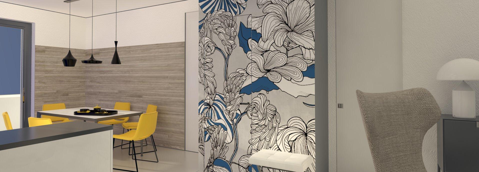 Il ripostiglio dispensa ricavato nel soggiorno cucina progetto in 3d cose di casa - Ripostiglio per terrazzo ...