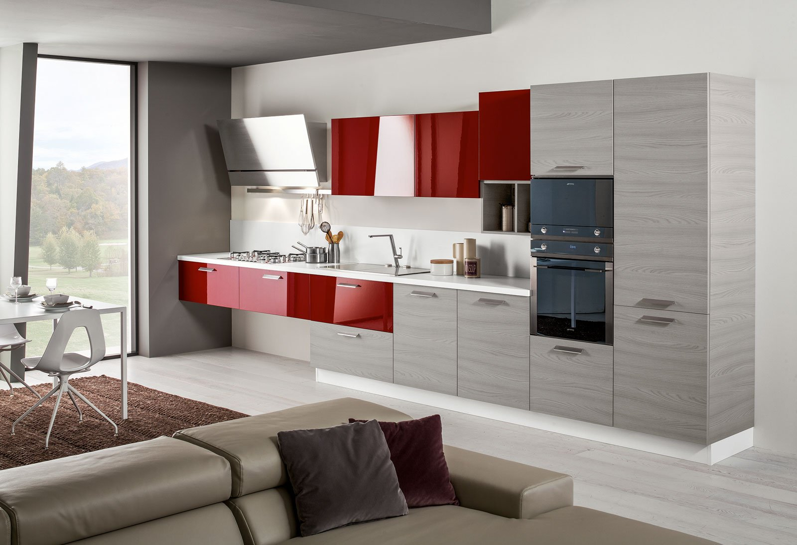 cucine piccole composizioni compatte anche per il soggiorno