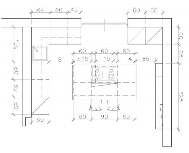Cucina a vista sul soggiorno un progetto per sfruttare - Misure basi cucina ...