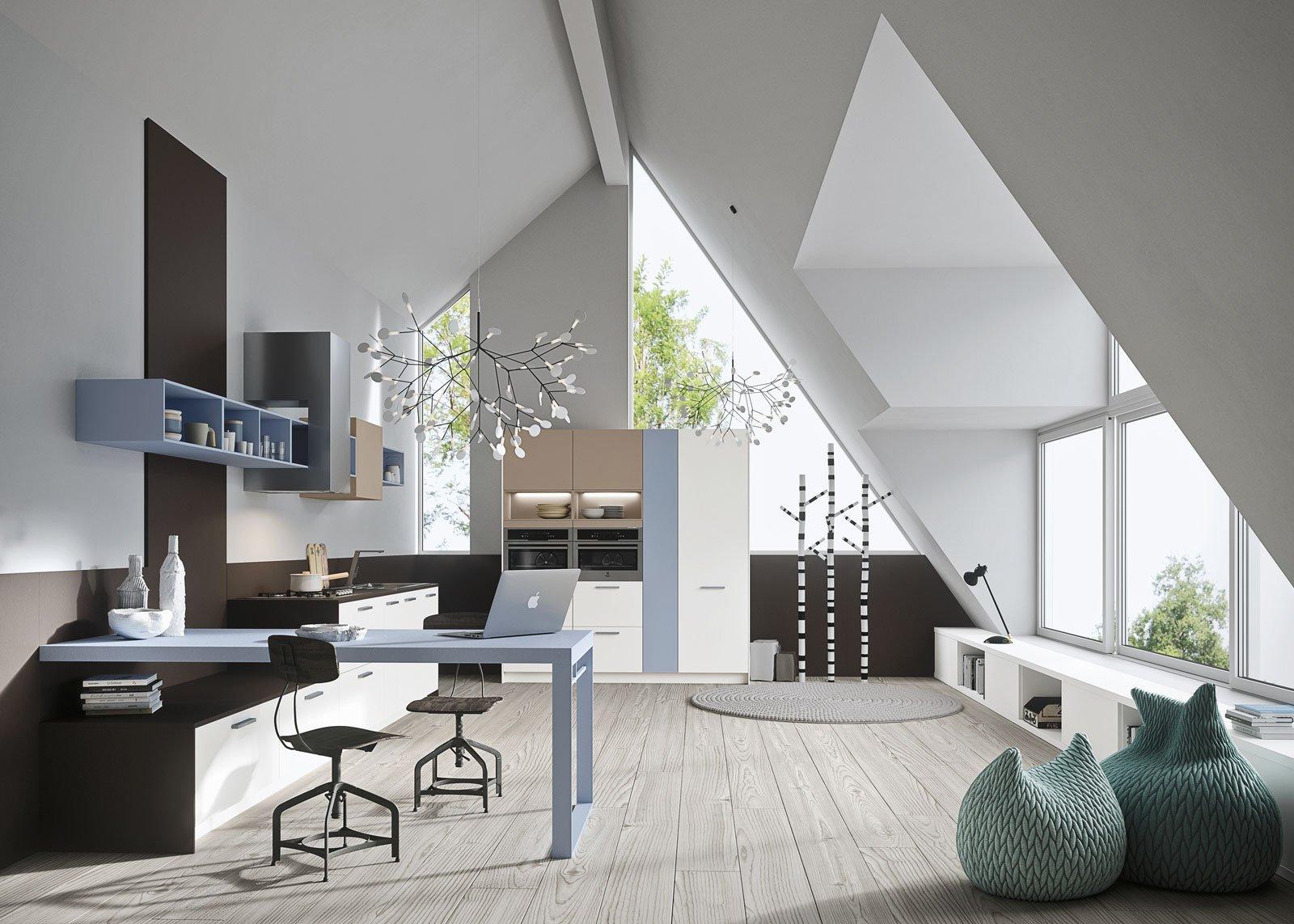 Cucine piccole composizioni compatte anche per il for Arredamento soggiorno moderno