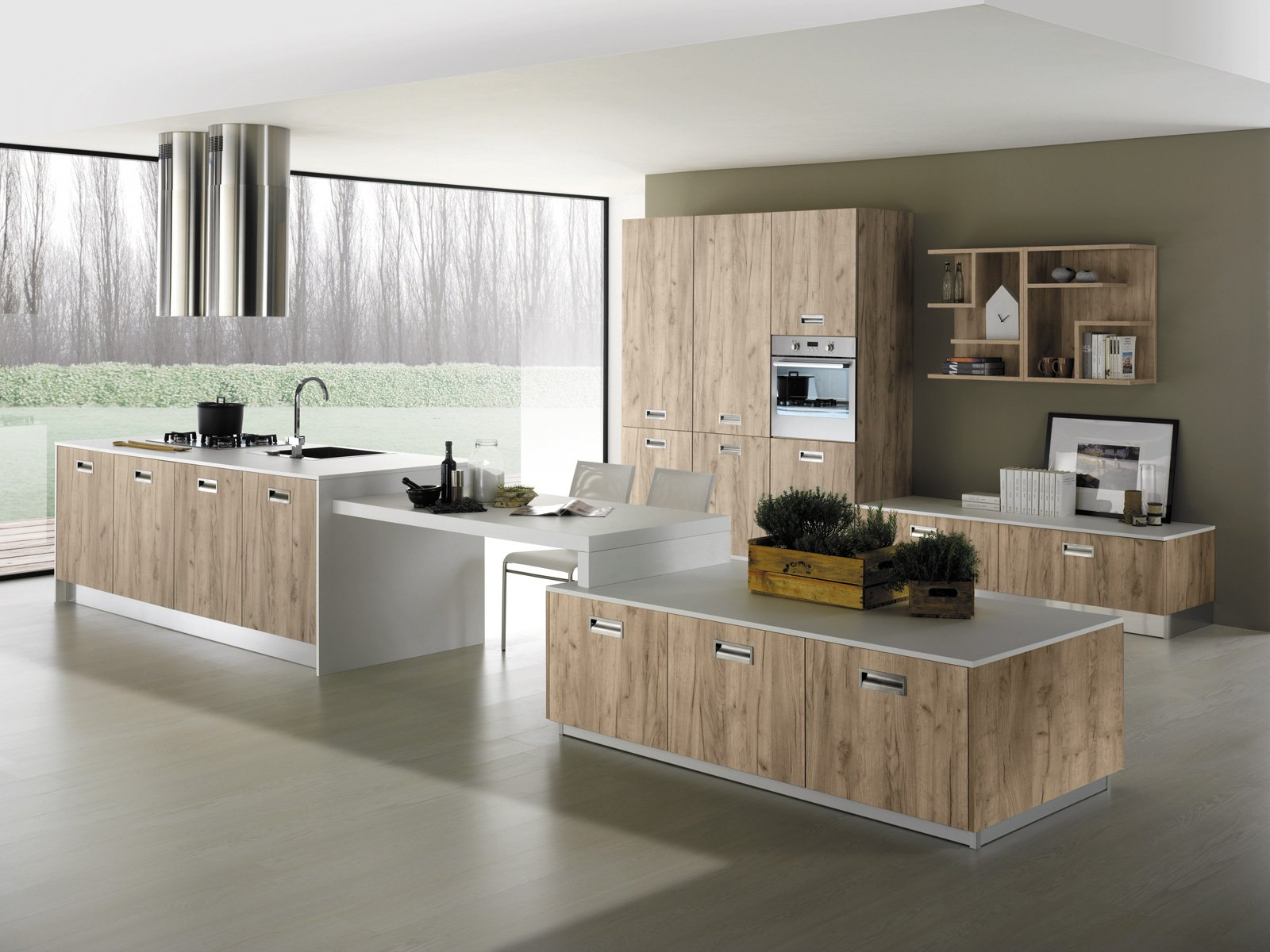 unisola dalla forma insolita per nevada di mobilturi la cucina in rovere grigio disponibile