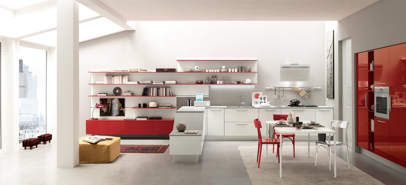 cucine a vista per il loft, nel soggiorno open space - cose di casa - Soggiorno Febal 2
